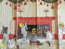 Vtg Dennison Christmas Crepe Paper Decoration 20x38 Stockings Children Fireplace