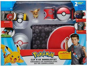 Pokemon Box Set Belt With Bag And 2 Pokeball and Figure Eevee Original Clip Go