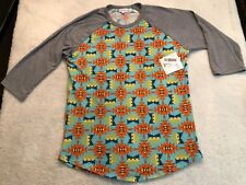 *NEW* LuLaRoe Randy Raglan Shirt Teal/Blue/Yellow/Orange Tribal Print Size XL