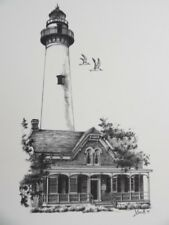 Lot of 100 Drawings Of The Lighthouse On St Simons Island 14 x 11 Artist Smith