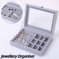 2 Styles Flannel Grey Ring Box Tray Jewellery  Rings Display Case Holder