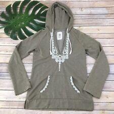 Roxy Hooded Sweatshirt Size S Tan White Embroidery Hoodie Boho Beach Deep V