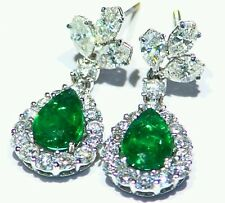 5.97CT 18K Gold Natural Cut White Diamond Emerald Vintage Engagement Earrings