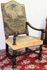 Antique French Napoleon First Open Fauteuil Arm Chair Claw Feet Circa 1810