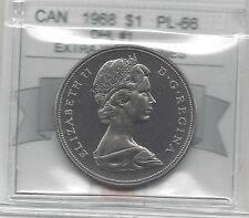 **1968 DHL #1 XWL**,Coin Mart Graded Canadian Nickel Dollar **PL-66**