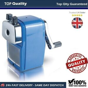 Desktop Blue Rotary Pencil Sharpener Heavy Duty Desk Clamp Auto stop
