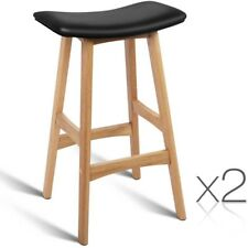 2x Oak Wood Bar Stools Wooden Dining Chairs Kitchen Side Padded Black 3629