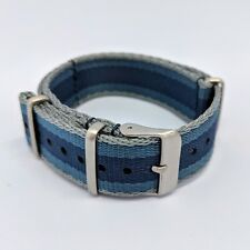 22mm Premium Military NATO Watch Strap - Navy/Grey/Blue