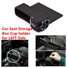 Car Seat Gap Slit Filler Pocket Catch Catcher Box Coin Storage Cup Holder Black