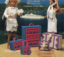 """""""LUGGAGE""""~Plastic Canvas PATTERN ONLY fits BARBIE FASHION DOLL"""