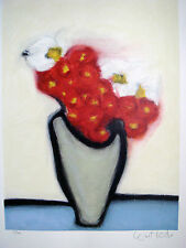 RED FLOWERS -GRAY VASE -LOUISE HOUDE- CANADIAN ARTIST- SIGNED SERIGRAPH - 70/300