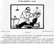 DAL DENTISTA: CONTO ARRETRATO.Vignetta Umoristica.Dentiste.Dentist.Zahnarzt.1929
