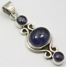 """925 PURE Silver Genuine IOLITE HANDCRAFTED Pendant 1.7"""" VINTAGE STYLE JEWELRY"""