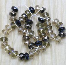50pcs!!! 7x4mm GREY LUMINOUS MIX  GEMSTONE CUT CZECH GLASS Beads