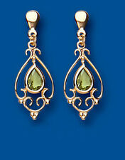 Unique Wishlist 9ct Yellow Gold Peridot Open Fancy Victorian Style Drops AP6856