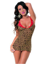 Sexy Insticts Leopard Red Chemise with Late Trim & Matching G-String!