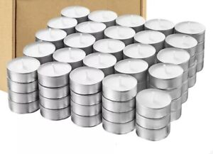 💡100 Tea Lights 8HR Long Burn Night Light Candles White Unscented Candles 100CT