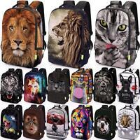 Women Men 3D Animal Shoulder School Bookbag Satchel Backpack Rucksack Travel Bag