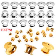 100 PCs Metal Locking Pin Backs Pin Keepers Locking Clasp 50 Silver+50 Gold