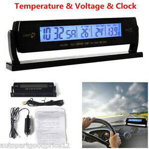 Auto Car Temperature Voltage Clock Alarm Digital LCD Thermometer Meter Monitor