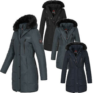 Geographical Norway Damen Winter Mantel Jacke Winterjacke Kunstfellkragen D-449