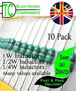 Inductor / Coil / Choke 1/4W,1/2W & 1W Many values available (colour wheel)