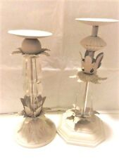 Candle Holders, Very Ornate Glass and Metal, White