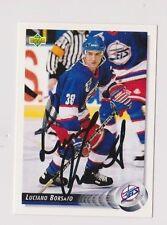 92/93 Upper Deck Luciano Borsato Winnipeg Jets Autographed Hockey Card