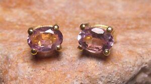 14K Gold plated brass cut amethyst 6x4mm gemstone stud earrings. Gift bag.