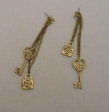 Women's Fashion Earrings Gold Chains Locks Keys Rhinestone ANN KIM Drop Dangle