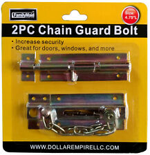 2ps Slide Brass Catch Chain Guard Bolt & Door Bolt Security Entry Lock Set