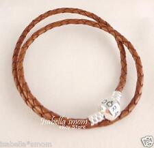 "NEW Authentic PANDORA Camel BROWN Leather/Silver Bead DOUBLE BRACELET 16.1""~41cm"