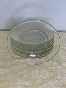 """Twelve Days Of Christmas Luncheon Dessert Plates Set Clear Glass Etched 7 7/8"""""""