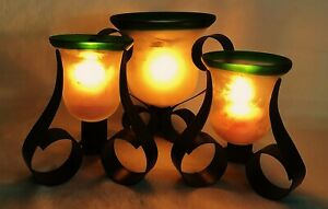 Pier One Set 3 Rustic Southwest Green Wrought Iron Candle Holders w Satin Glass
