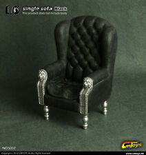 "1/6 CMToys Black Single Sofa Chair Furniture Model F 12"" Action Figure"