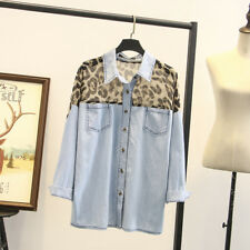 T07 NEW Women's leopard-print Denim blouse Tops Jeans Ladies T-Shirt size 14-22