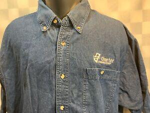 CHARTER COMMUNICATIONS Blue Denim Button Front Shirt Men's Size 2XL