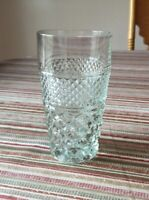 "Vintage WEXFORD Diamond Pattern GLASS TUMBLER ICE TEA WATER GLASS 5 1/2"" Tall"