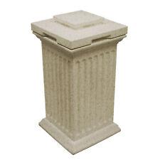 Good Ideas Savannah Outdoor Column 30 Gallon Storage and Waste Bin, Sandstone
