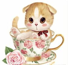 Cross Stitch Style Cat in Cup with Flower Diamond Painting 20x20cm