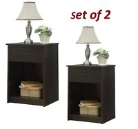 Set of 2 Nightstand End Tables Bedside Drawers Shelves  Chest Cabinet Bedroom