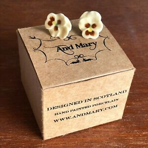 Yellow Pansy Earrings - Porcelain & Sterling Silver by And Mary - New & Boxed