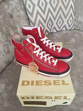 Diesel Red Leather Biker Zip Mid Top  Trainers Sneakers UK 7 EU 40 NWB