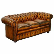 1930'S HAND DYED RESTORED WHISKY BROWN LEATHER CHESTERFIELD CLUB SOFA ENGLISH