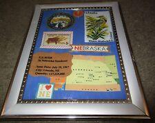 Nebraska Tribute-Framed Art-Statehood 5 cent stamp-Collectible-Free Ship
