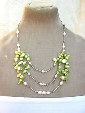 "21"" Green & white Real fresh water pearl silver tone multi row cluster Necklace"