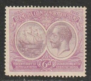 BERMUDA (Scott # 69) KING GEORGE V & COLONY SEAL 6p red violet & violet MINT