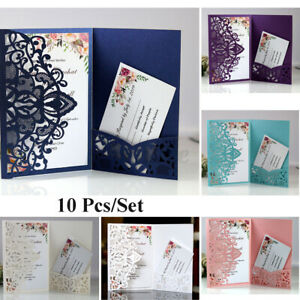 10PCS Laser Cut Wedding Party Invitations Card Pocket White Envelope Invites *