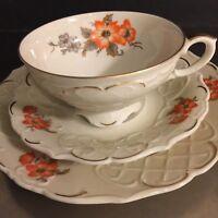 Vintage Porcelain Tea Cup Saucer Dessert Plate P S Schirnding Bavaria Germany