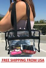 4PK CLEAR TOTE BAG TRAVEL SECURITY CONCERT WAREHOUSE